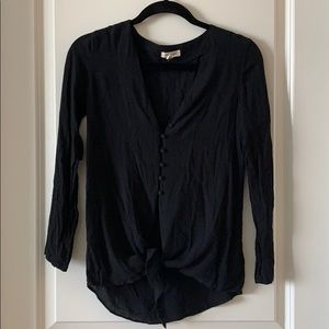 Tie front black long sleeve shirt